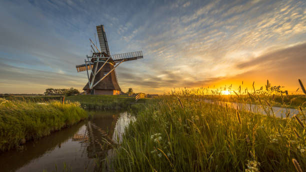 Wooden windmill grass and flowers stock photo