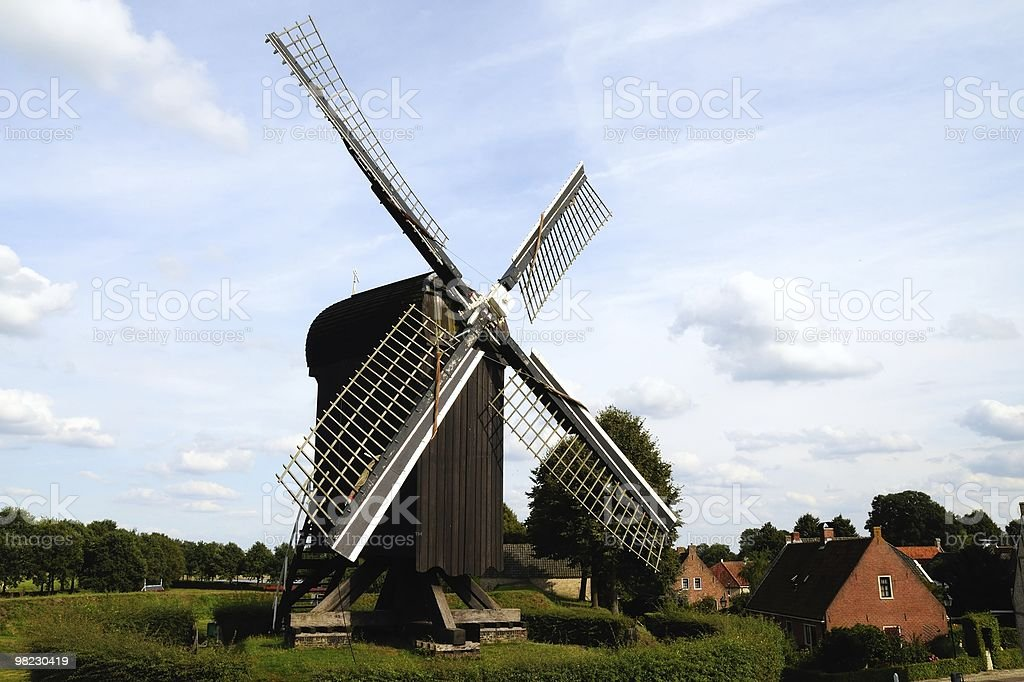 Wooden windmill in Bourtange royalty-free stock photo