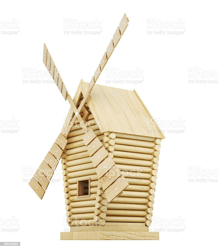 Wooden windmill side view isolated on white background. 3d rende royalty-free stock photo