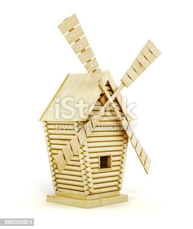 Wooden windmill side view isolated on white background. 3d render image.