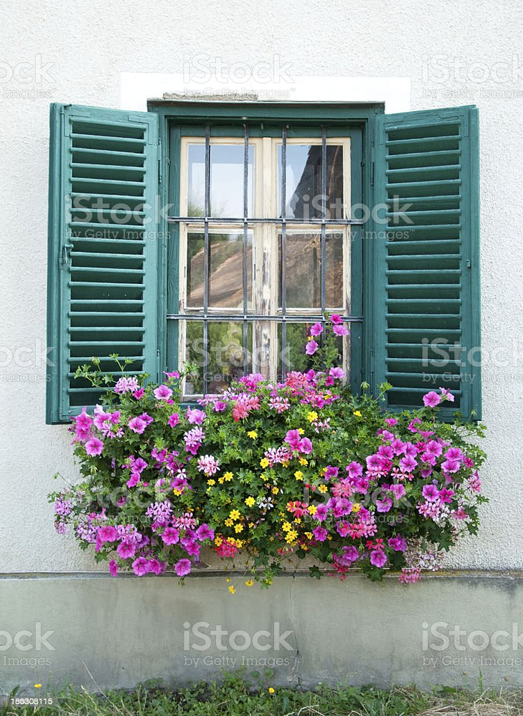 wooden window decorated with flowers stock photo