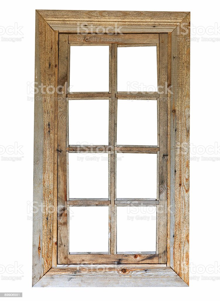 A wooden window frame with 8 glass panels royalty-free stock photo