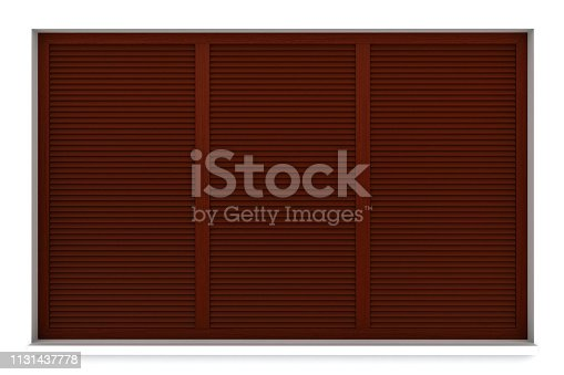 902034612istockphoto Wooden window frame with external blinds 1131437778