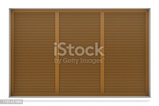 902034612istockphoto Wooden window frame with external blinds 1131437869