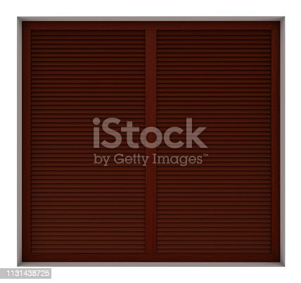 902034612istockphoto Wooden window frame with external blinds 1131438725