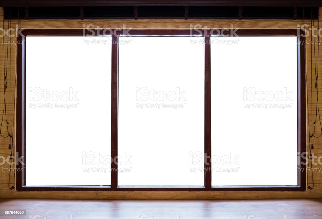 Wooden window frames with desk, isolated on white background stock photo