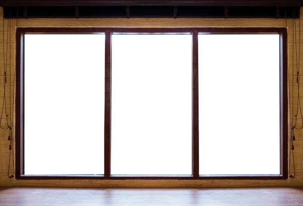 Wooden window frames with desk, isolated on white background - foto stock