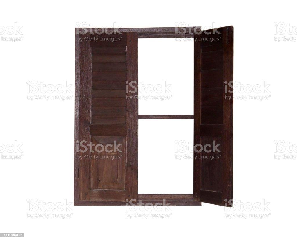 Wooden window isolated white background stock photo