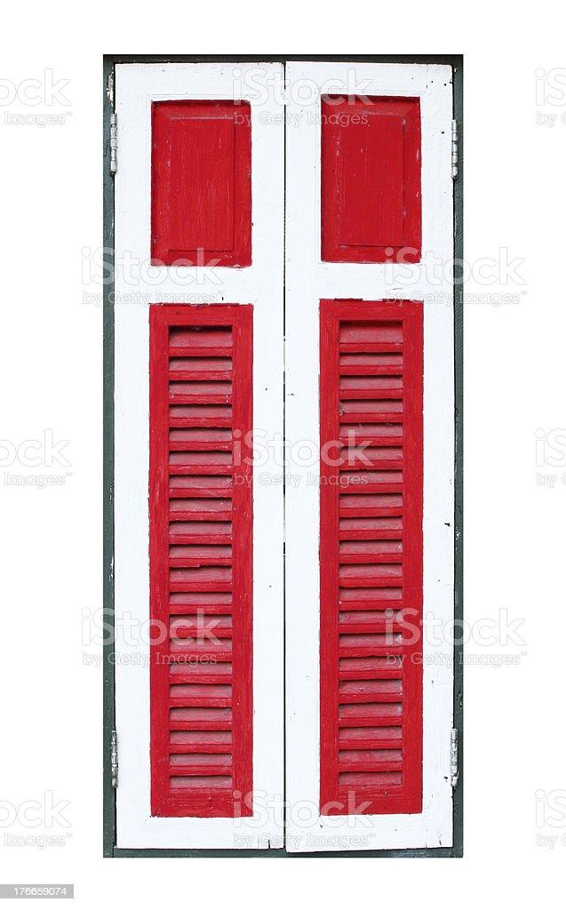 wooden window on white background royalty-free stock photo