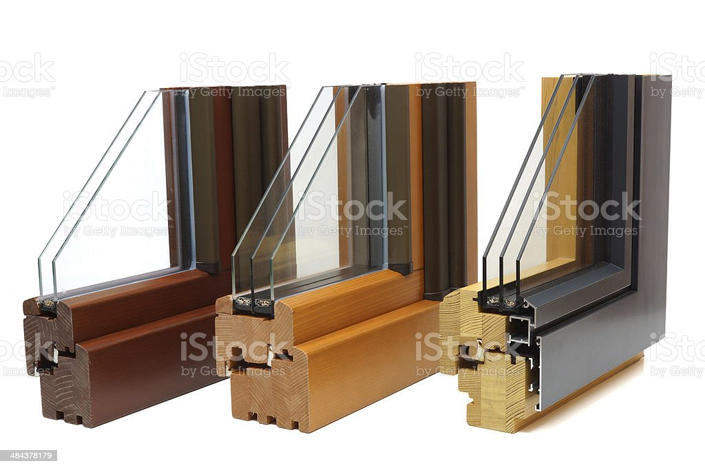 wooden window profiles stock photo