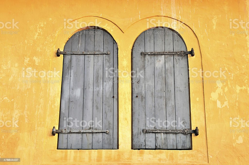Wooden Windows on a Bright Wall, Maritime Museum Detail, Galle stock photo