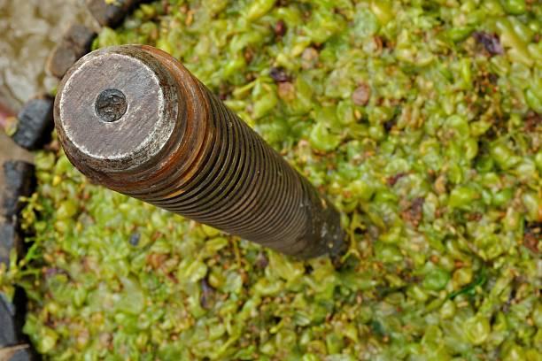hölzerne winepress für bügeln trauben zu wein-produktion - weinflecken entfernen stock-fotos und bilder