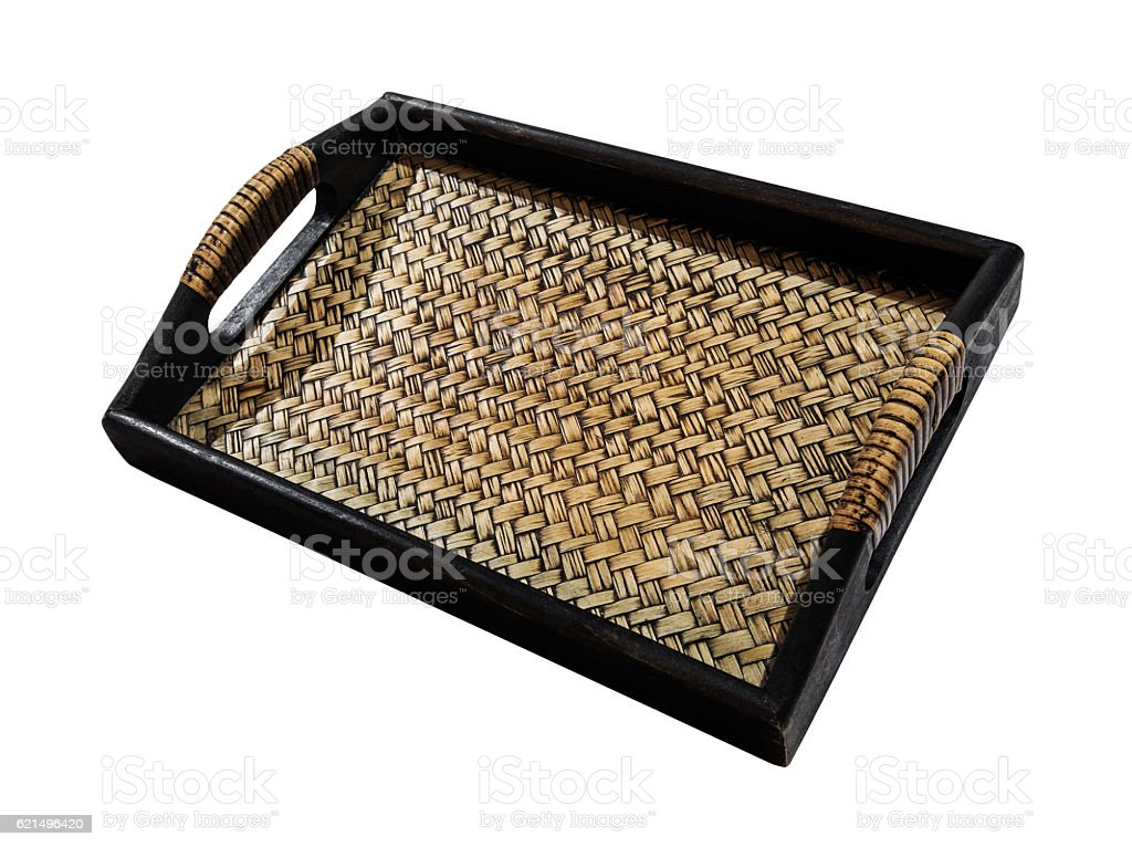 Wooden with weave rattan tray, isolated on white background foto stock royalty-free