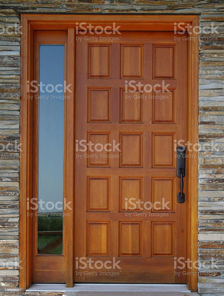 wooder front door stock photo