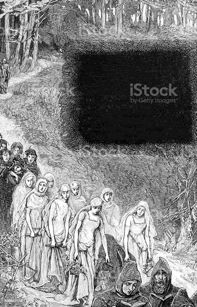 Woodland Funeral Procession - The Churchaard Bride stock photo