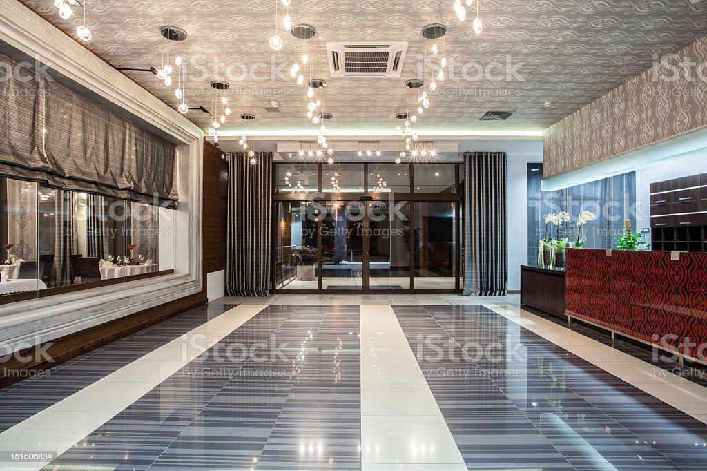 Woodland hotel - entrance stock photo