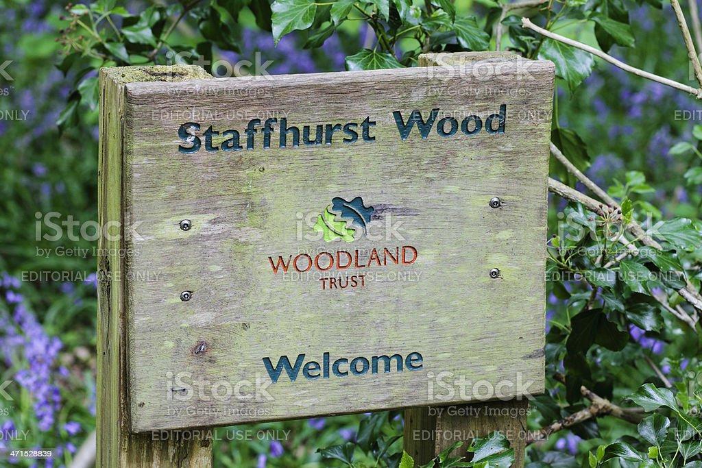 Woodland Trust Staffhurst Wood sign notice royalty-free stock photo