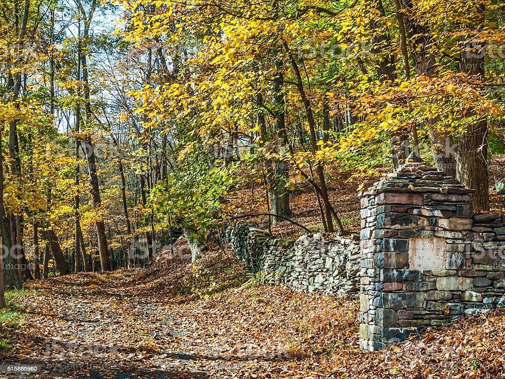 WoodlandsRockWall stock photo