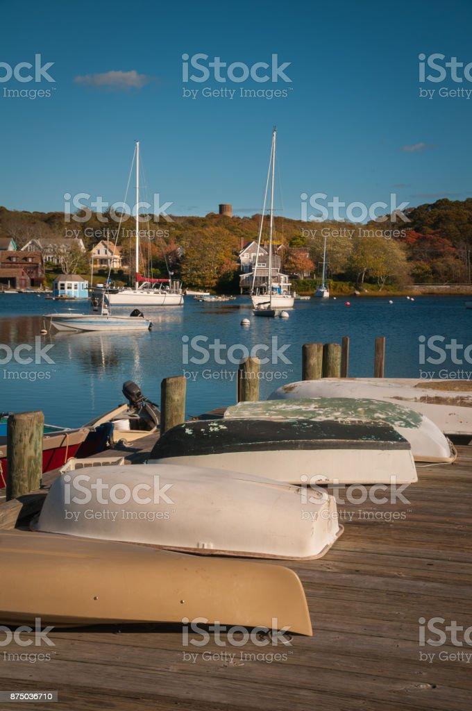 Woods Hole Harbor stock photo