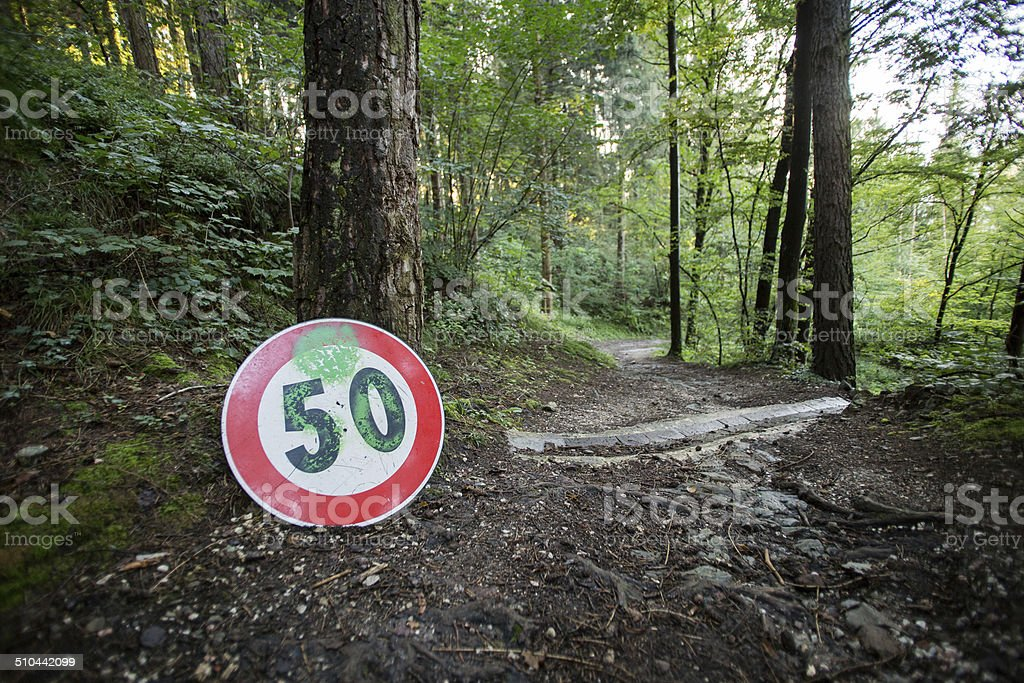Woods speed limits royalty-free stock photo