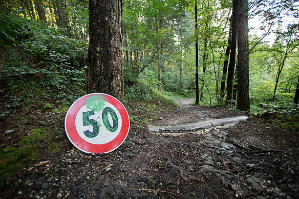 Woods speed limits stock photo