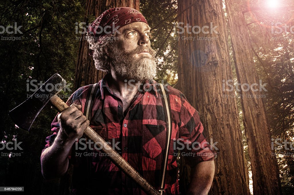 Woodsman with Axe in the Forest stock photo
