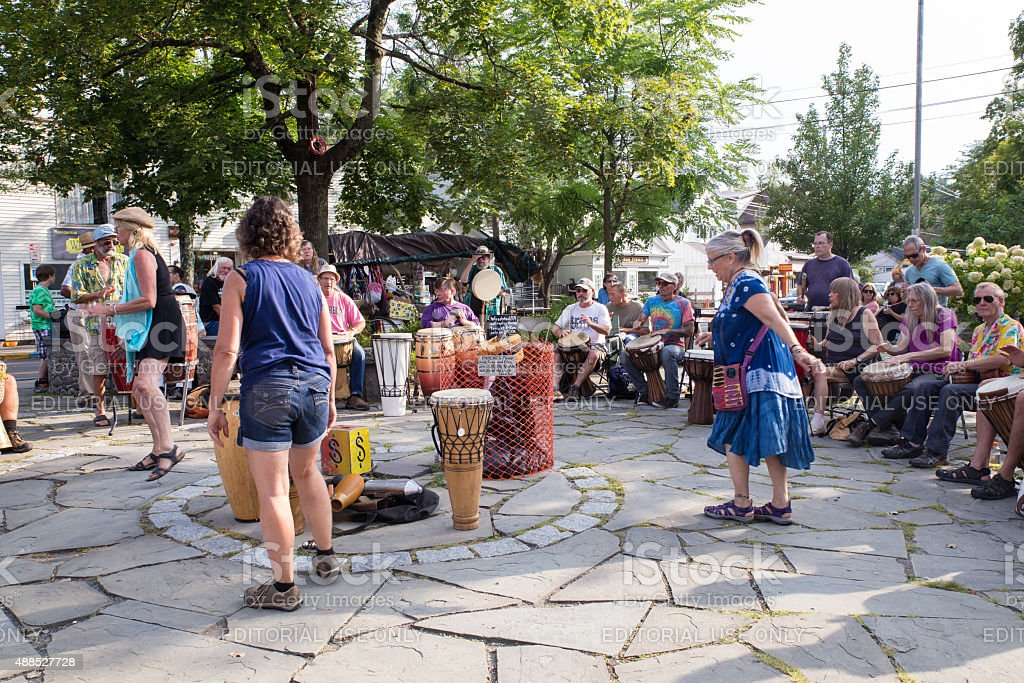 Woodstock NY Drum Circle stock photo