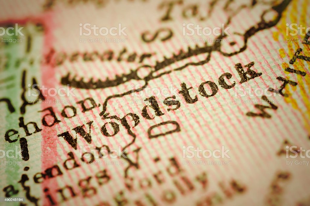 Woodstock, Vermont on an Antique map stock photo