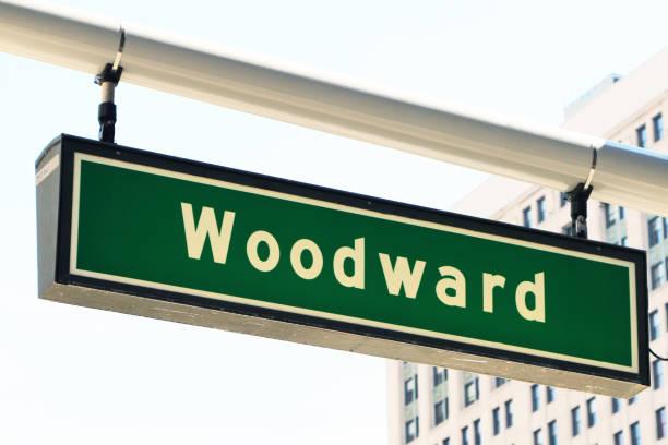 Señal calle Avenida de Woodward - foto de stock