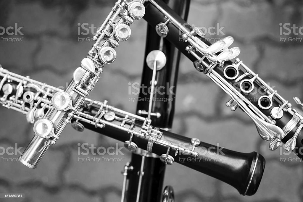 woodwind instruments stock photo