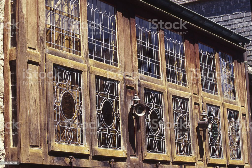 Woodwork and window detail on French House royalty-free stock photo