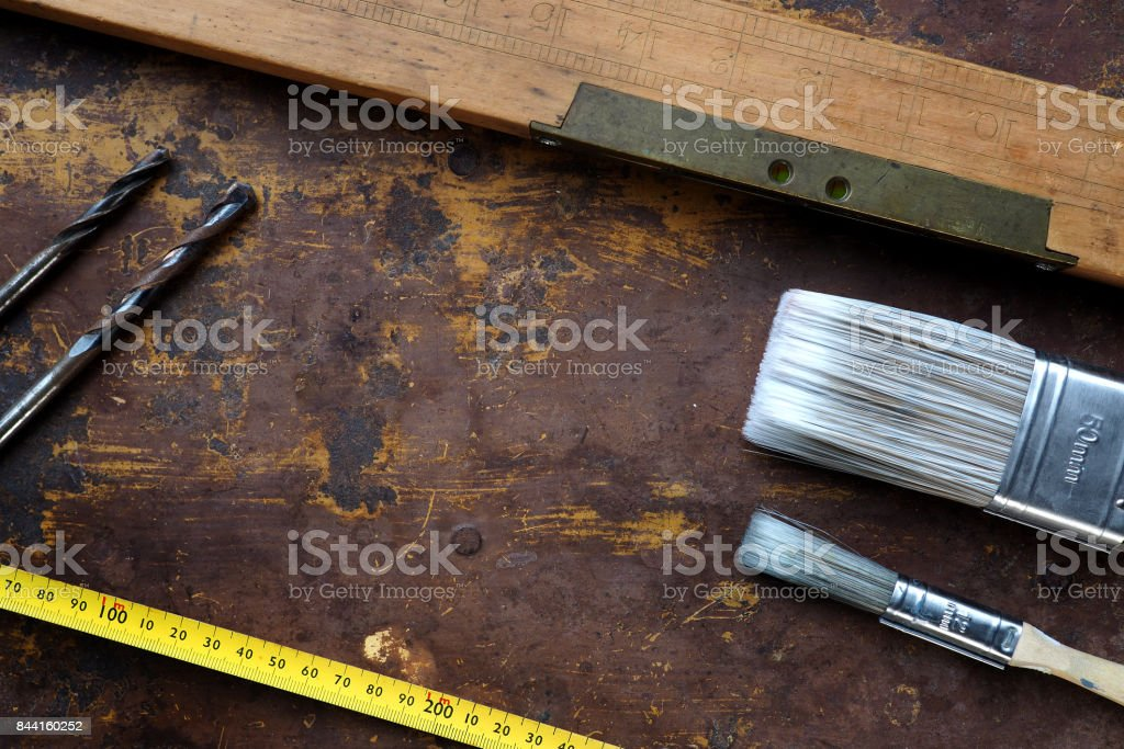 Woodwork tools from above, flat lay stock photo