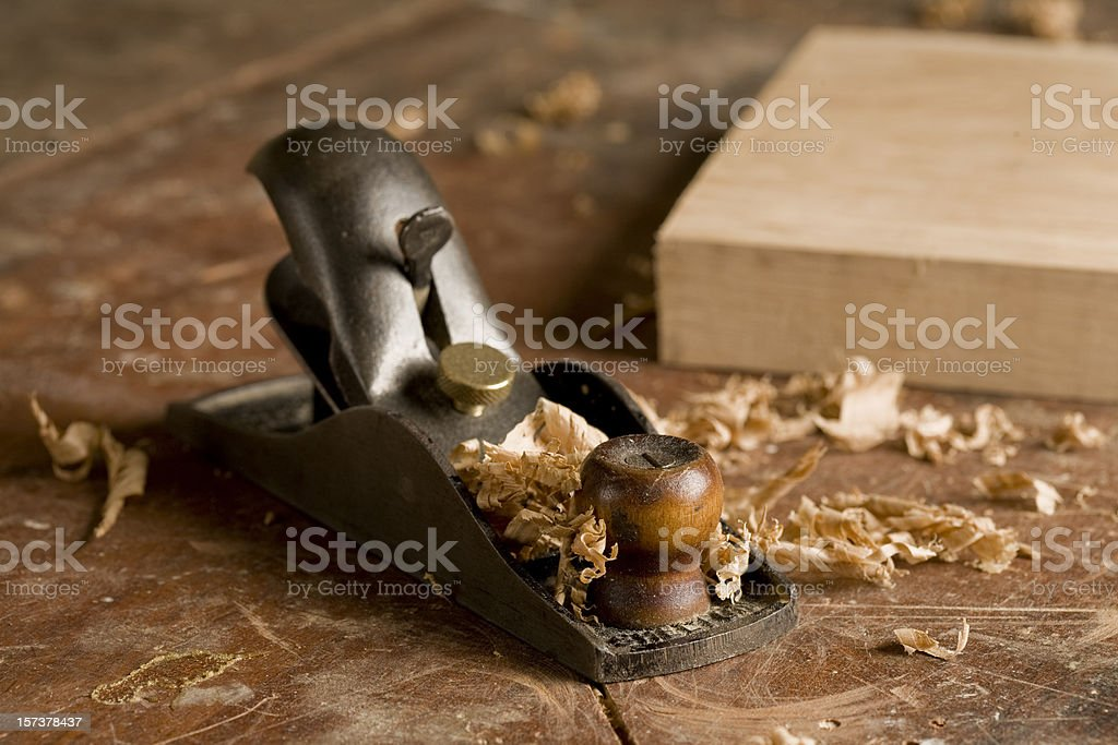 Woodworkers Plane stock photo