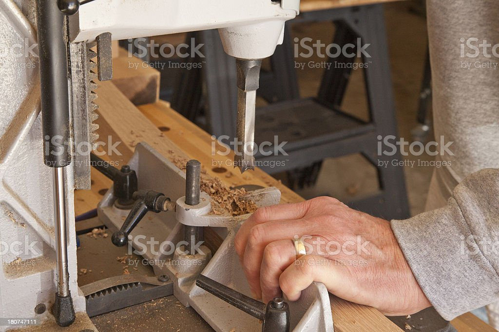 Woodworking - making a mortise royalty-free stock photo