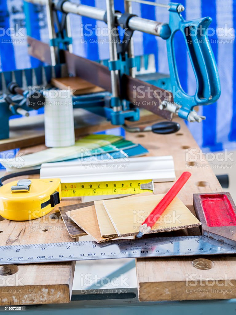 Woodworking Tools In Workshop Home Improvement Stock Photo