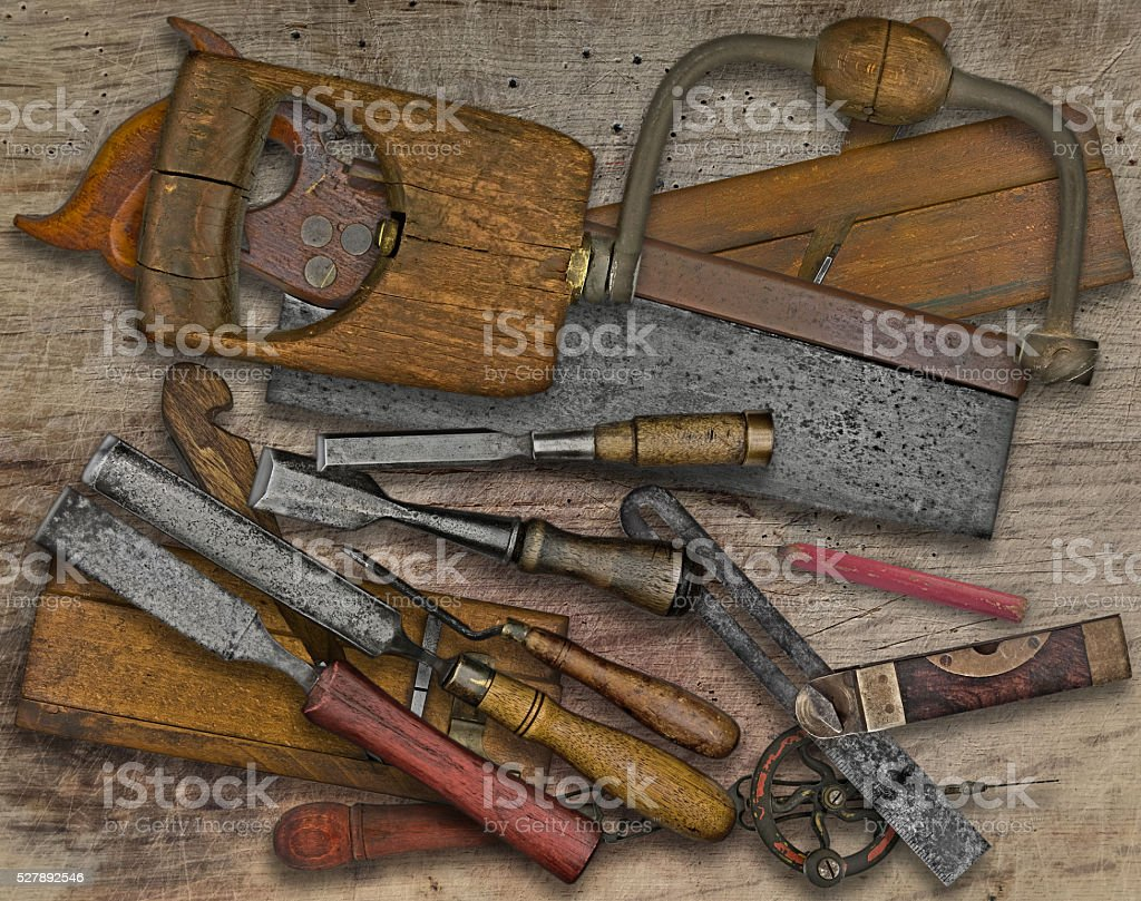 woodworking tools over bench stock photo