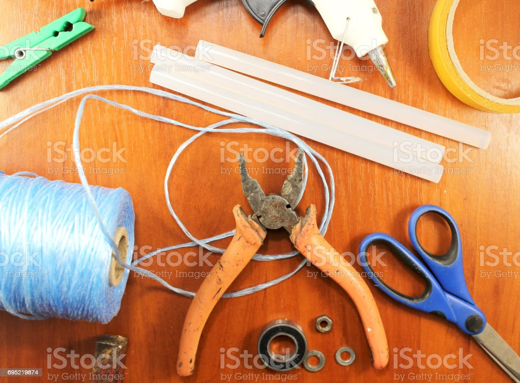 Woodworking Workshop Loseup On Top Of The Tools For Creating Diy Or