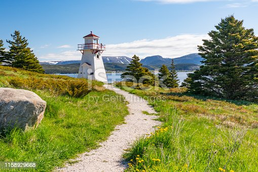 Woody Point Lighthouse on Bonne Bay in Newfoundland, Canada
