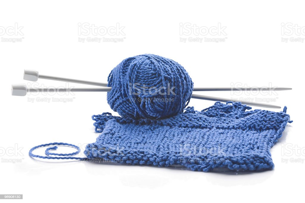 Wool and wooden needles royalty-free stock photo