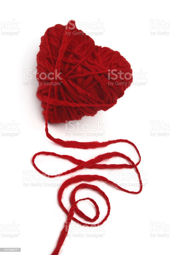 Wool ball of yarn in heart form. royalty-free stock photo