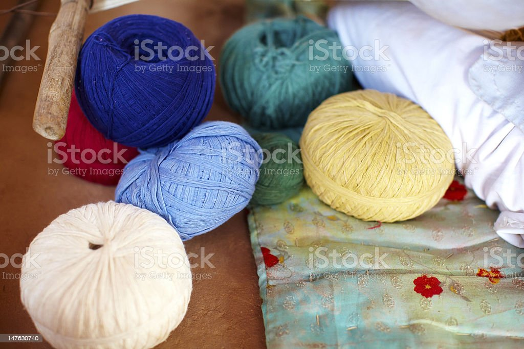 Wool balls of different colors royalty-free stock photo