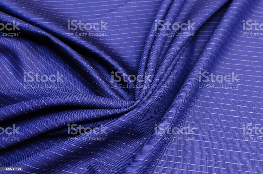 Wool fabric of dark blue color, costume fabric from wool 150 super