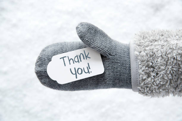 wool glove, label, snow, text thank you - thank you stock pictures, royalty-free photos & images
