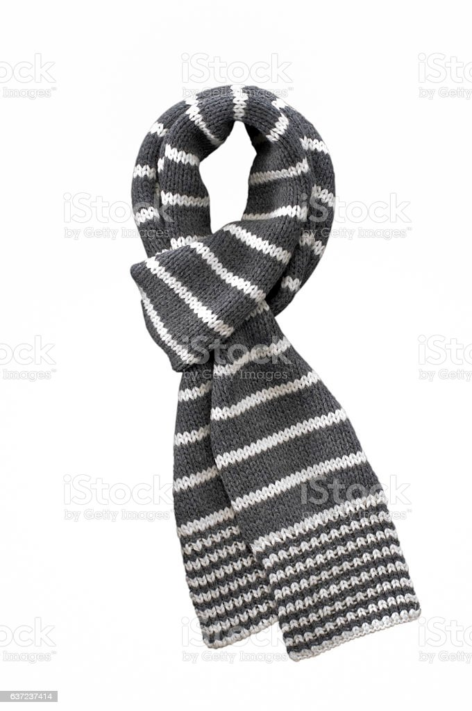 wool gray white striped  scarf on white - foto de stock