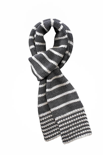 wool gray white striped  scarf on white stock photo