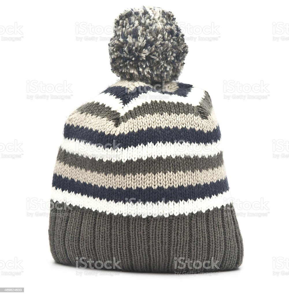 Wool hat on white background stock photo