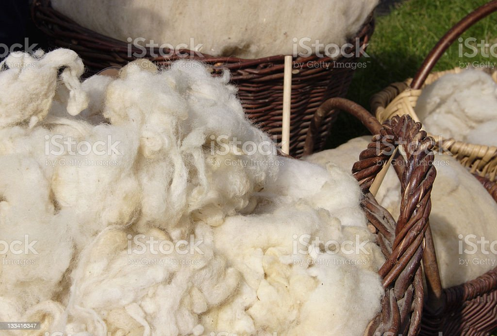 Wool in Baskets royalty-free stock photo