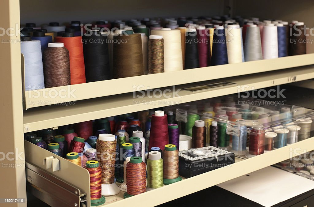 Wool, Rayon & Cotton Thread Spools in Cabinet royalty-free stock photo