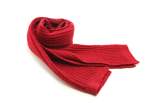 Wool Red Scarf Wool knitted red scarf isolated on white background headscarf stock pictures, royalty-free photos & images