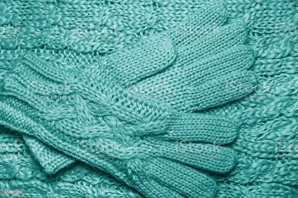 Wool sweater or scarf and gloves texture close up. stock photo